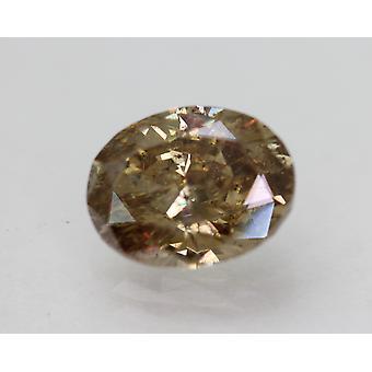 Cert 2.00 Carat Yellow Brown SI2 Oval Enhanced Natural Diamond 8.78x6.8mm