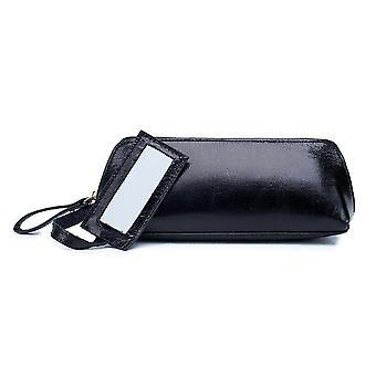 Borsa cosmetica in pelle portatile nera con custodia cosmetica a specchio piccola borsa di stoccaggio (20cm* 8cm * 7cm)