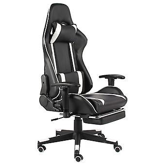 vidaXL gaming stoel met voetsteun draaibaar wit PVC