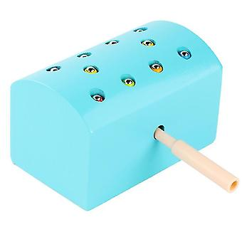 Blue wooden magnetic insect catching toys, parent-child interactive toy,improved hand-eye coordination az1773