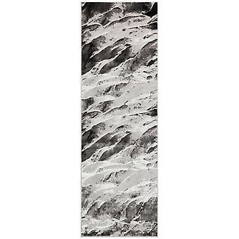 Blaze Blz06 Abstract Marble Runner Rugs In Silver Grey