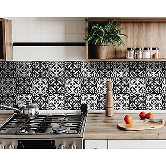 """6"""" X 6"""" Black and White Quatro Peel and Stick Removable Tiles"""