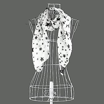 Women Black White Stars Soft Long Chiffon Neck Wrap Kerchief Scarf Stole