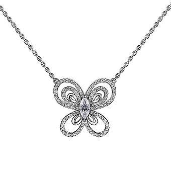 S925 stałe srebro srebrny łańcuch naszyjnik jeden biżuteria cyrkon w kształcie motyla 18 calowy