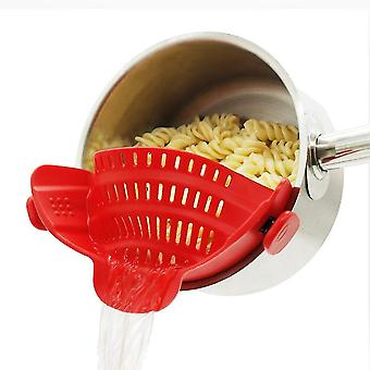 Universal Silicone Clip-on Pot Strainer Colanders(Red)