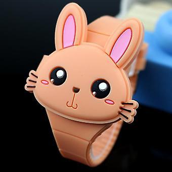 יפה ארנב קריקטורה להעיף כיסוי גומי שעון אלקטרוני (כתום)