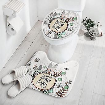 2pcs/set Cute Cartoon Carpet Skridsikker Piedestal Mat Tæppe Lid Toilet Cover Mat