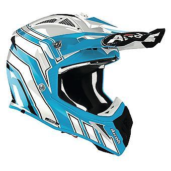 Airoh Aviator Ace Art Off-Road Motocross ATV Helmet Azure White Gloss