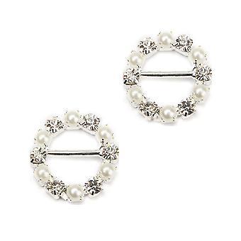 16mm runde diamante og perle bånd spenne glidebryteren