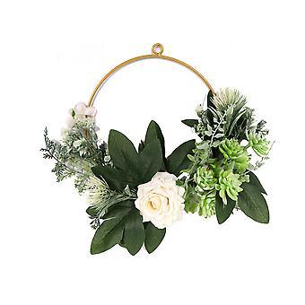 Eisen Kunst Rose saftige Girlande Künstliche Blumenkranz Wand Art Deco