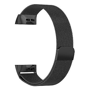 Milanese loop bracelet compatible with Fitbit Charge 3(Black)