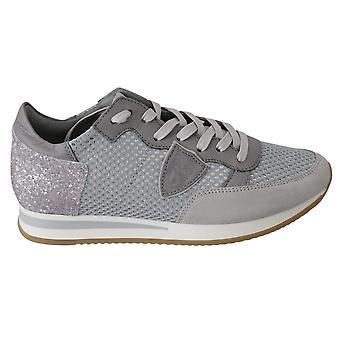 Zapatos de zapatillas deportivas deportivas de cuero gris