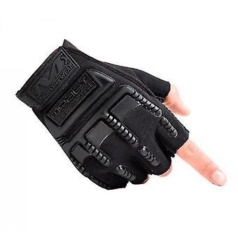 Outdoor Fitness Gloves Male Half-finger Equipment Training Sports Climbing Gloves(Black)