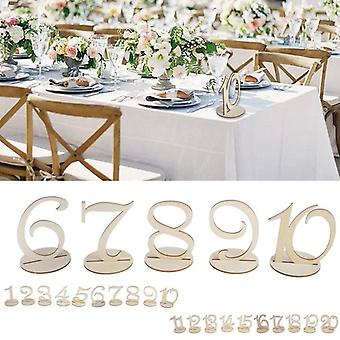 1-10/11-20 Wooden table numbers set with base birthday wedding party decor