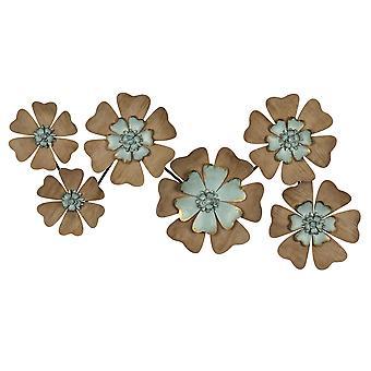Fun Blumen Naturholz und Aqua Blue Wanddekor