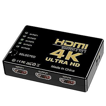 HDMI switcher 5 in 1 out, hdmi HD video switcher with remote control ,support 4K30Hz