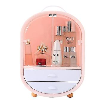 Kosmetische Aufbewahrungsbox Tragbare staubdichte und wasserdichte Desktop-Lippenstift Hautpflegeprodukte (rosa)