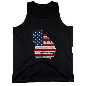 GA statligt USA flagga mäns linne Georgien amerikanska flaggan tankar