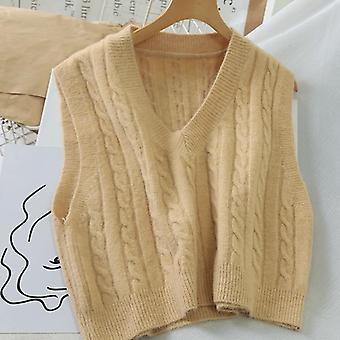 Women Outerwear Knitted V-neck, Sleeveless, Spiral Pattern Sweater Vest