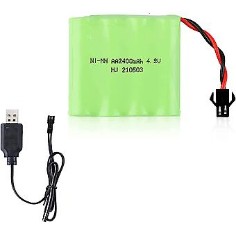 Battery 4.8v ni-mh 2400 mah for car remote control + usb charging cable