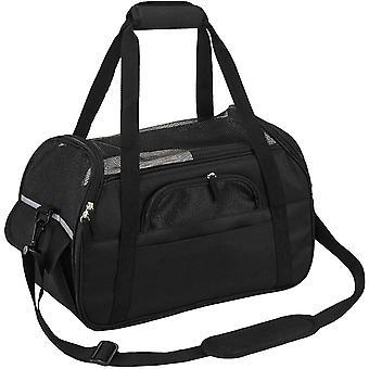 Tierbedarf, atmungsaktive Mesh-Einkaufstasche, Haustiertragetasche, Oxford-Stoff, Schwarz, 43 * 23 * 29cm