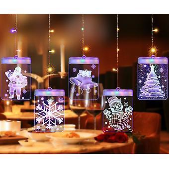 Christmas Decoration Light String 3d Curtain Lights, Usbwarm White