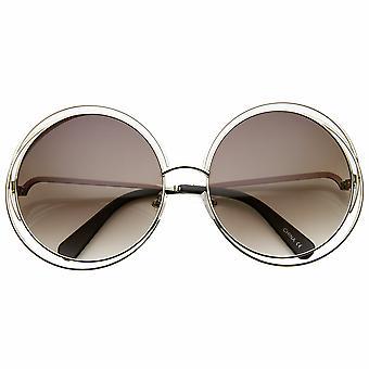 المرأة المتضخم سلك معدني بالكامل الإطار بريق جولة النظارات الشمسية