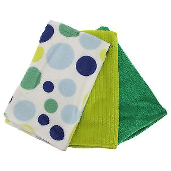 Polka Dot Pattern Microfibre Tea Towel Set (Pack Of 3) (One Size) Various Designs