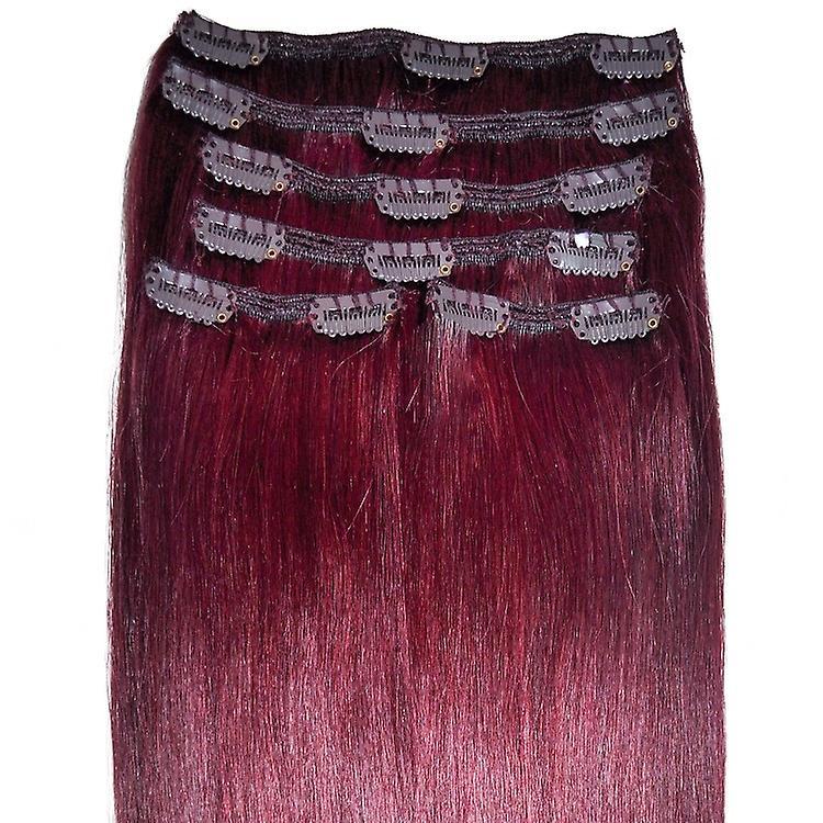 #99J acajou rouge - Extensions à clips cheveux - tête complète
