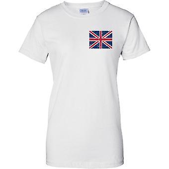 Union Jack británico agobiados Grunge efecto bandera diseño - diseño de pecho de las señoras camiseta