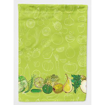 Carolines Treasures  BB5135GF Fruits and Vegetables in Green Flag Garden Size
