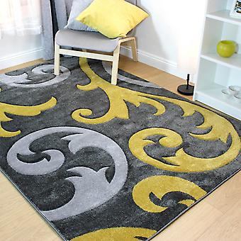 Hand Carved Elude Rugs In Ochre And Grey