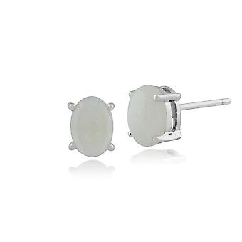 Gemondo 9ct White Gold 0.85ct 4 Claw Set Opal Cabochon Oval Stud Earrings 7x5mm