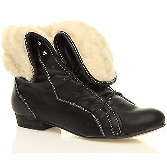 Ajvani Womens tief Ferse Pixie Fell Falten über Manschette Schnürschuhe Vintage Knöchel Stiefel