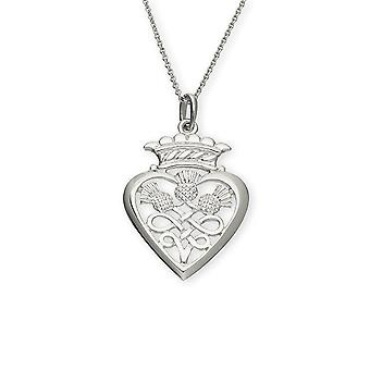 Sterling Silver Traditional Scottish Luckenbooth Heart Hand Crafted Necklace Pendant - P162