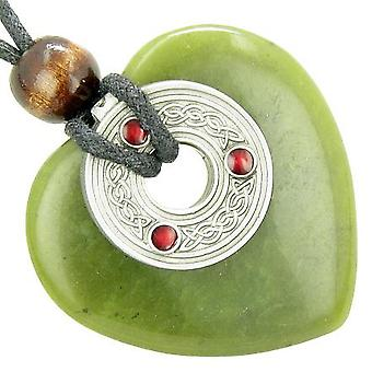Celtic Triquetra Knot Protection Amulet Green Jade Gemstone Heart Pendant Necklace