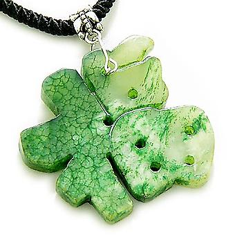Held og lykke Talisman heldige charme Symbol grøn Jade halskæde