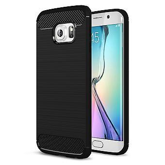 Samsung Galaxy S6 edge TPU caso de carbono de fibra optica estuche negro cepillado