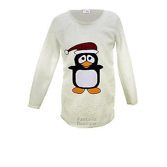 Chaud Fleece Jumper Top à manches longues de Noël Penguin Imprimer Les enfants des enfants