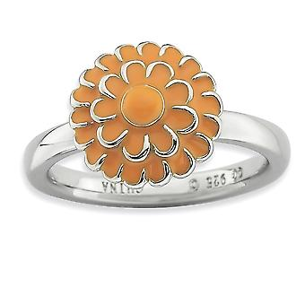 925 Sterling Silver Enamel Polished Rhodium plated Stackable Expressions Chrysanthemum Ring Jewelry Gifts for Women - Ri