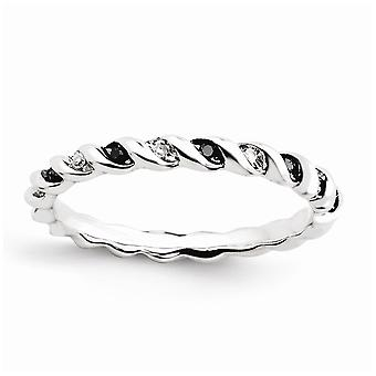 925 Sterling Silver Polished Patterned Channel set Rhodium plated Stackable Expressions Black and White Diamond Ring Jew