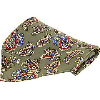 David Van Hagen Large Paisley Silk Pocket Square - Moss Green