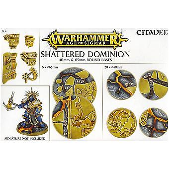 Games Workshop Warhammer idade de Sigmar quebrado Dominion redonda Bases 40/65 mm