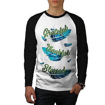 Hombres agradecidos plumas blanco camiseta de (mangas negro) béisbol LS | Wellcoda
