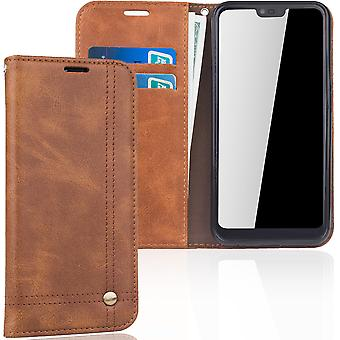 Cell phone cover case voor Huawei honor 10 cover Wallet case Brown