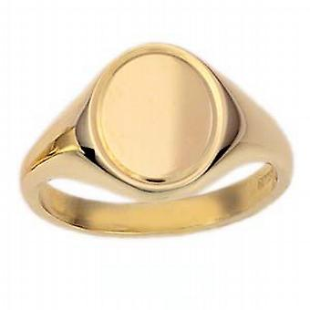 9ct Gold 14x12mm solid engine turned line border oval Signet Ring Size W