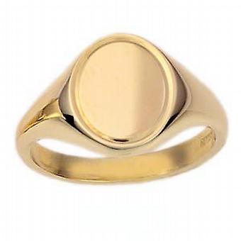 9ct arany 14x12mm szilárd motorral esztergált vonal határ ovális Signet Ring méret W