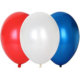 TRIXES 30 x Red/ White/ Blue Latex Balloons - National Celebration Party Decoration - 30cm Diameter