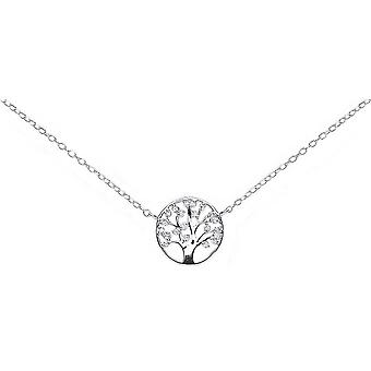 Bella Cubic Zirconia Tree Necklace - Silver