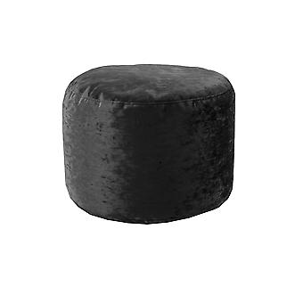 Ebony Round Bean Bag Footstool Pouffe Seat in Shiny Crushed Velvet Fabric